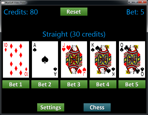 Screenshot of WyeSoft Video Poker v1.0.0